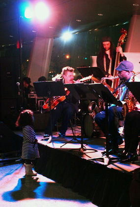 On stage with the Fat Cat Big Band